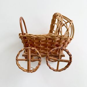 Vintage Accents - Vintage Boho Wicker Baby Carriage Mini